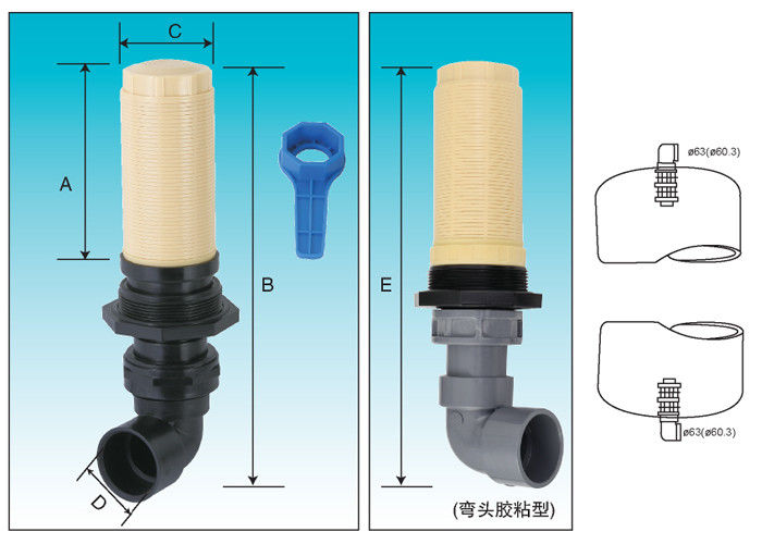 Thread top & bottom mount diffuser for side mount Riser pipe 4""