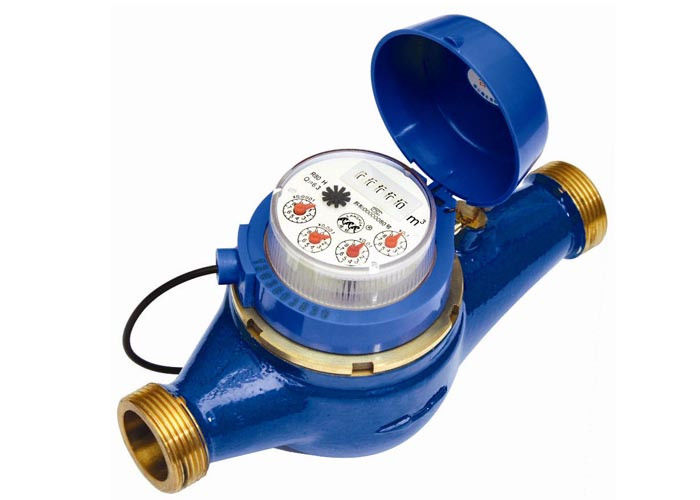 Multi jet water meter of dry dial register , pulse emitter for remote reading DN20